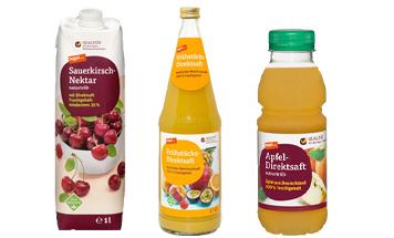 3 Flaschen mit Säften