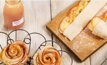 Apfelröschen mit Karamellsauce und Fleur de Sel