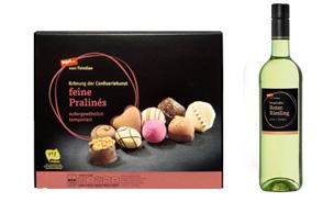 Pralinen und Wein vom Feinsten
