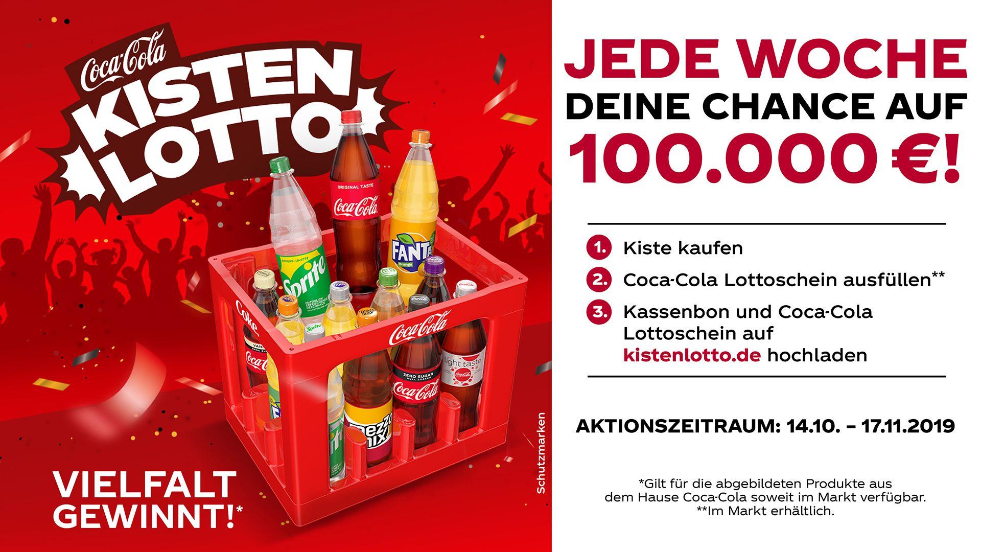 Gewinnspielbanner Coca Cola Kisten Lotto mit einer Kiste an Softgetränken wie Coca Cola, Fanta, Sprite, Mezzo Mix