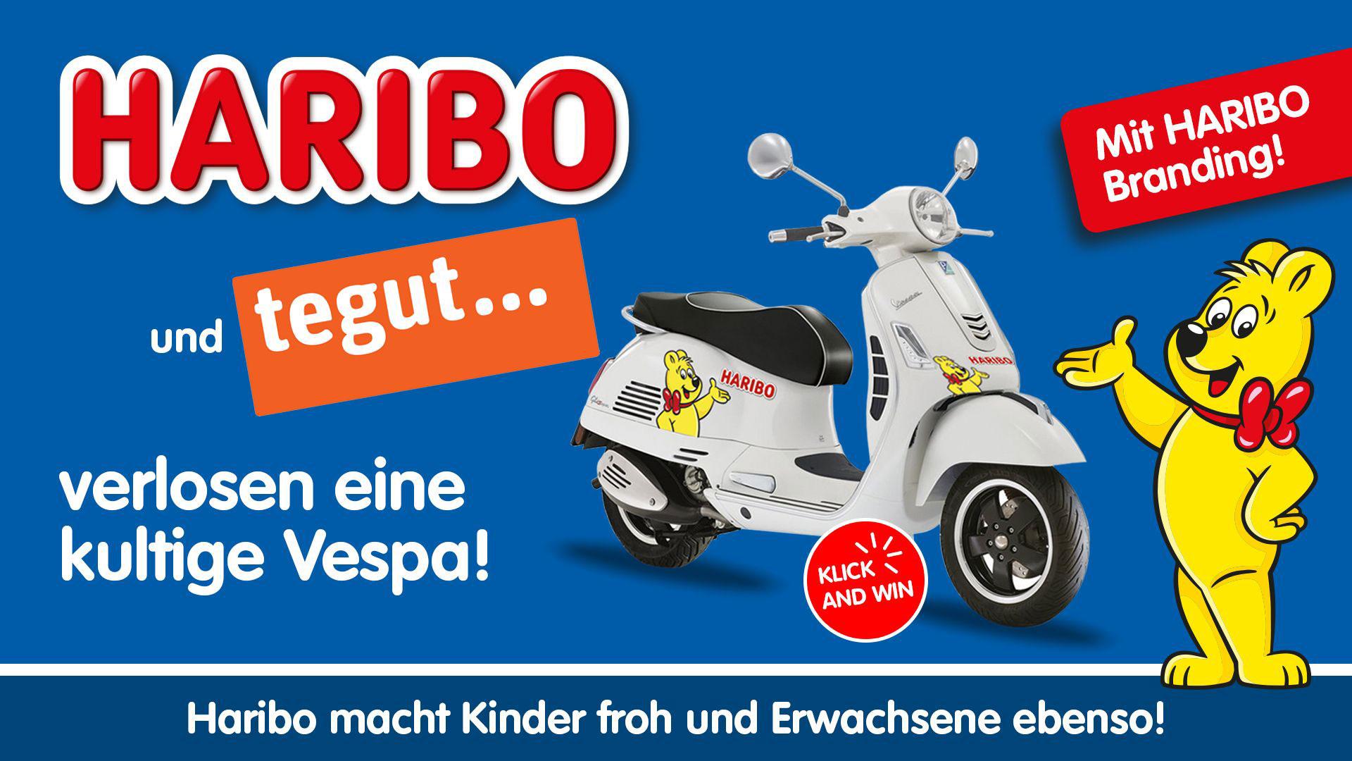 Gewinnspielbanner HARIBO mit Vespa und Goldbärchen und tegut Logo