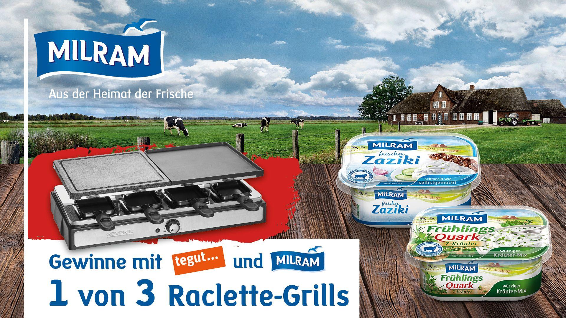 Gewinnspielbanner MILRAM mit tegut... und MILRAM Logo, einem Raclette-Grill, MILRAM Zaziki und MILRAM Frühlings-Quark