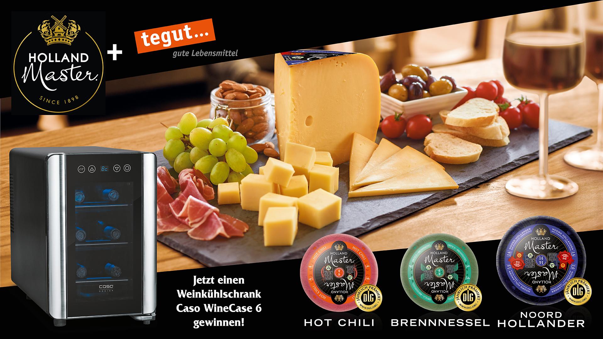 Gewinnspielbanner mit Weinkühlschrank, Käse in den Sorten Hot Chili, Brennnessel, Noord Hollander von Holland Master mit Käseplatte im Hintergrund und tegut... Logo