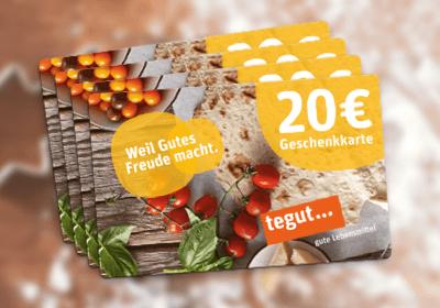 7.–10. Preis: je 1 x tegut... Geschenkkarte im Wert von 20 €