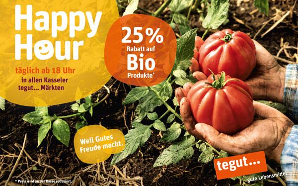 zwei Hände mit Tomaten und Schriftzug Happy Hour in allen Kassler Märkten ab 18:00 Uhr