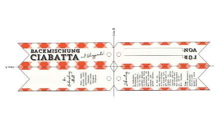 Druckvorlage für Etikett für Backmischung Ciabatta