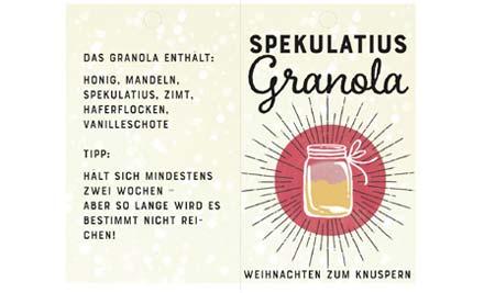 Druckvorlage für Etikett für Spekulatius Granola