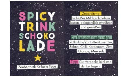 Druckvorlage für Etikett für Trinkschokolade