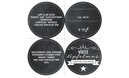 Druckvorlage für Etikett für Winter Apfelmus
