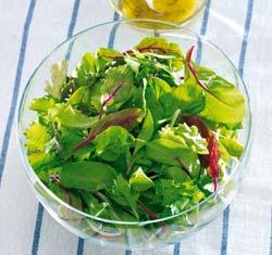 Bio Mixsalat in Schüssel mit Dressing