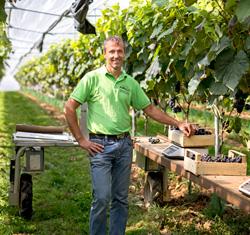 Landwirt Armin Braun im Gewächshaus