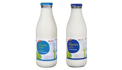 Tegut Milch in Glasflaschen