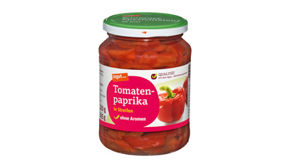 ein Glas tegut Tomatenpaprika