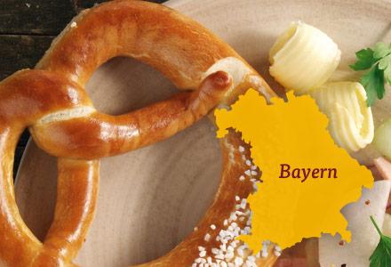 Brezel mit Butter, Umriss Bayern
