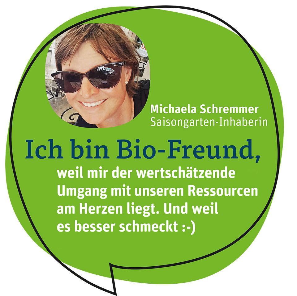 Saisongarten-Inhaberin mit Bio-Statement