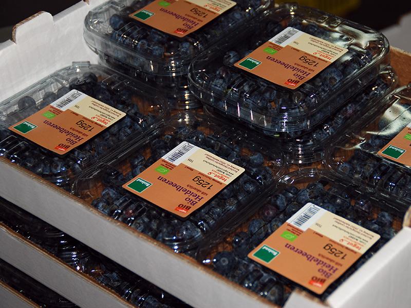 Heidelbeeren in Verkaufsverpackungen gestapelt
