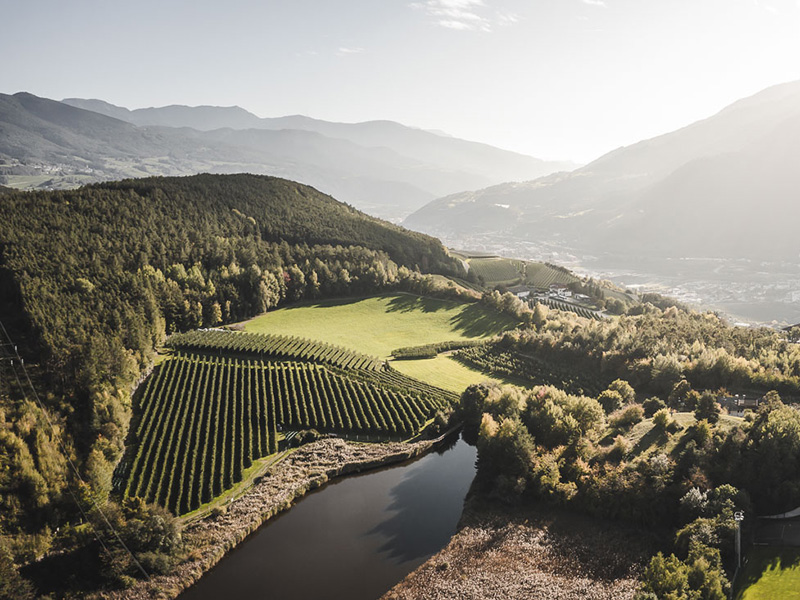 Luftbild auf den Apfelgarten, den Fluss und die Berge