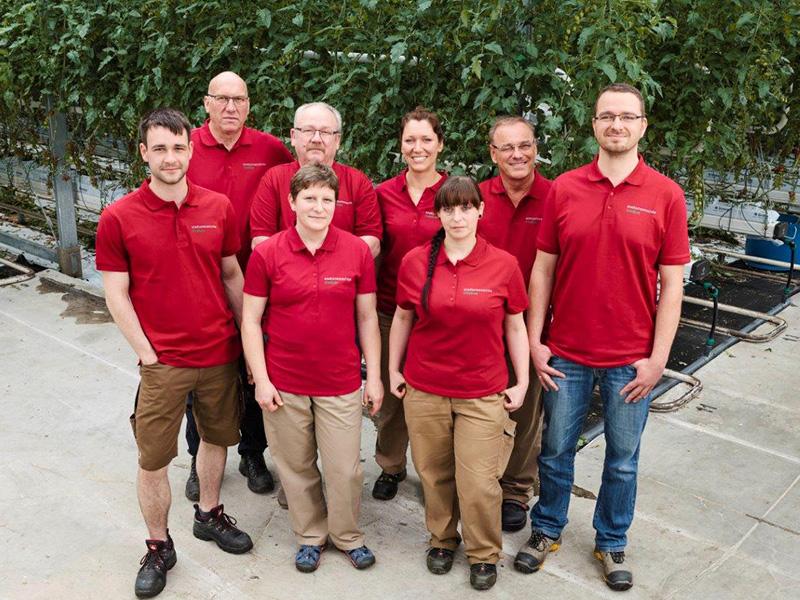 Gruppenbild, acht Mitarbeiter stehen vor den Tomatenreihen mit Bewässerungsanlage