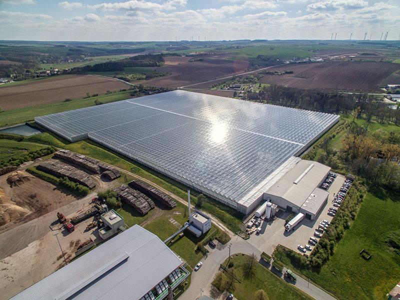 Luftbild der Betriebsfläche mit großer Gewächshausanlage