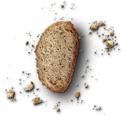 Brotscheibe mit Krümel
