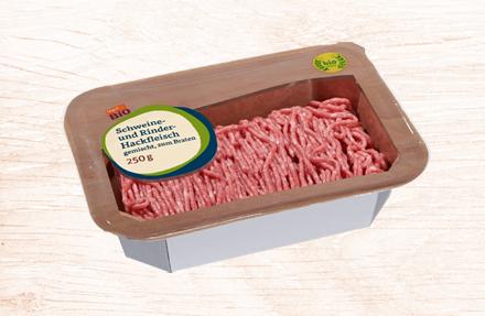 Karton mit Hackfleisch