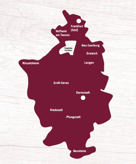 Landkarte - Liefergebiet tegut Amazon Online Shop