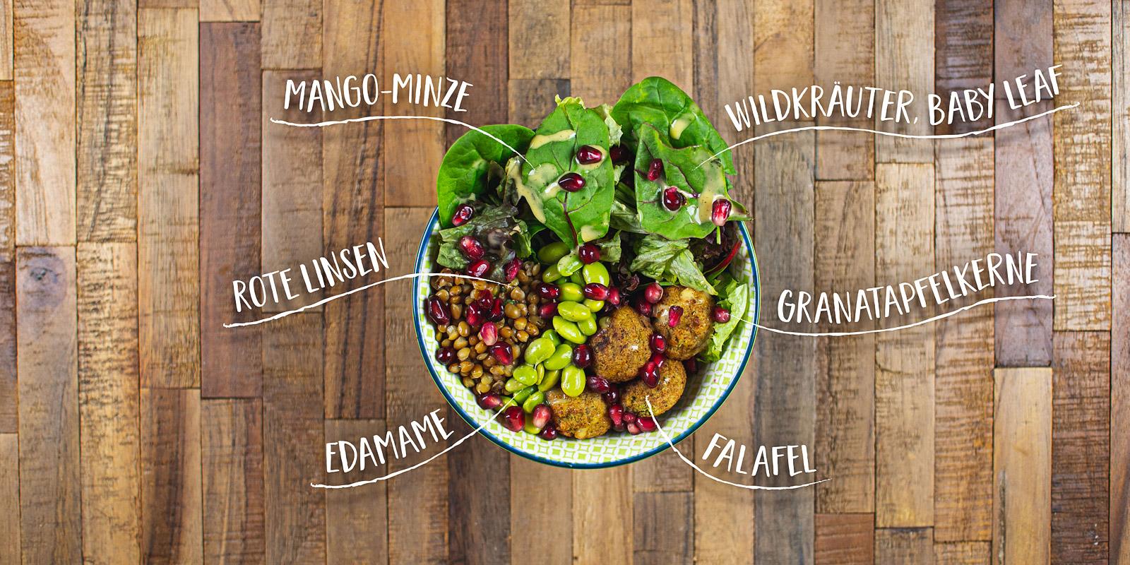 Salat Bowl mit Reis Wildreis Mischung, gebratene Haehnchenbruststreifen, Mozzarella Kugeln, Endivien, Frisee, Radicchio, Moehre, Cashew, Caesar-Dressing