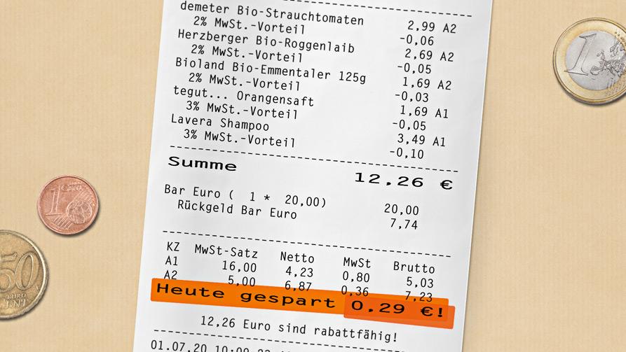 Euro Geldstücke und Kassenbon