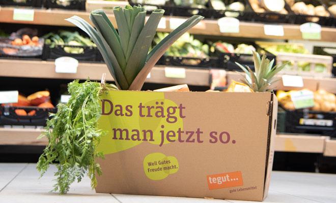 Obst und Gemüse in tegut Tragekarton