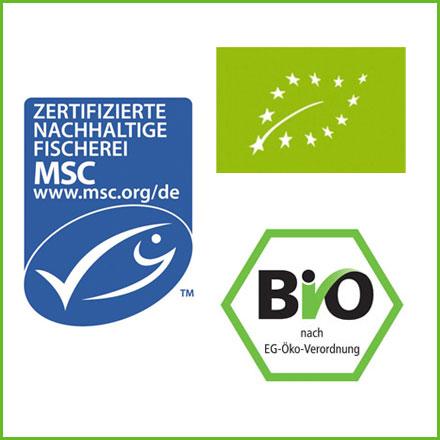 MSC-, EU-Bio- und deutsches Bio-Siegel