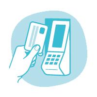 Bezahle am Bezahlterminal mit deiner Giro- oder Kreditkarte.