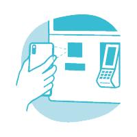 Scanne deinen QR-Code am Bezahlterminal ab