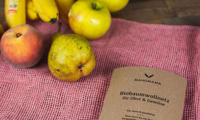 verpackungsmüll vermeiden Manomama Bio Baumwollnetz mit Obst