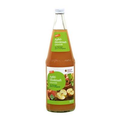 Tegut Apfel Direktsaft naturtrueb 1l Glasflasch