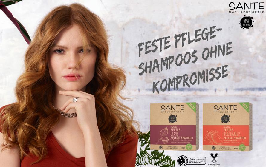 Eine Frau mit SANTE Shampoo im Hintergrund