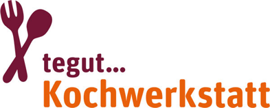 Logo tegut Kochwerkstatt in aubergine und orange