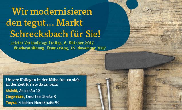 Umbaudaten des tegut... Marktes Schrecksbach