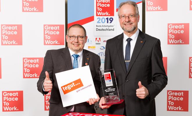 Auszeichnung tegut Great Place to work 2019 Karl Heinz Brand Guenter Ledermann