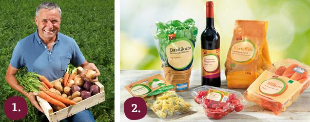 Bauer Schwab mit Kiste Gemüse und tegut... Bio-Produkte