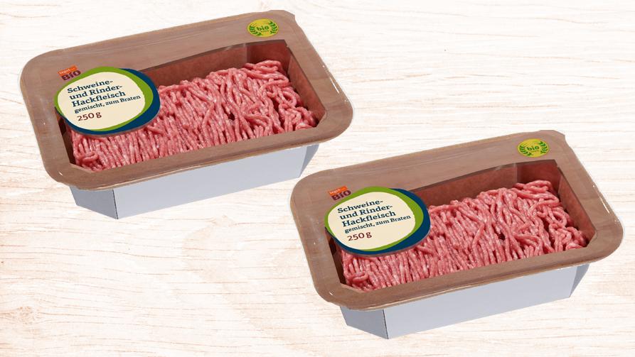 zwei Kartonverpackungen mit Bio Hackfleisch