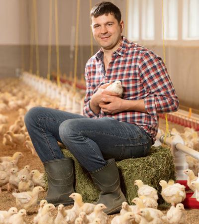 Bauer Schmid mit LandPrimus Hühnchen
