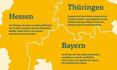Karte mit den Bundesländern Hessen, Bayern und Thüringen