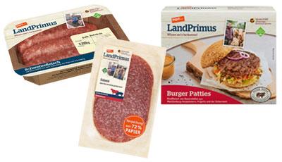 tegut LandPrimus grobe Bratwürstchen, Burger Patties und Salami
