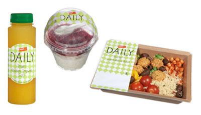 tegut daily Saft, Milchreis und Salad Bowl