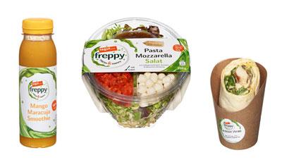 tegut freppy Smoothie, Wrap und Salat