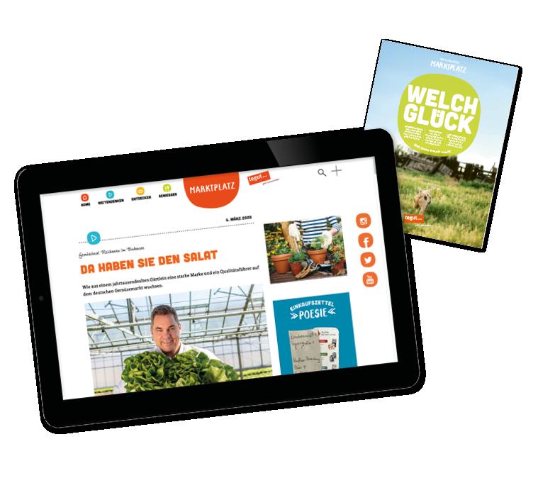 tegut Kundenmagazin online auf Tablet und Titelseite der Ausgabe Maerz April21