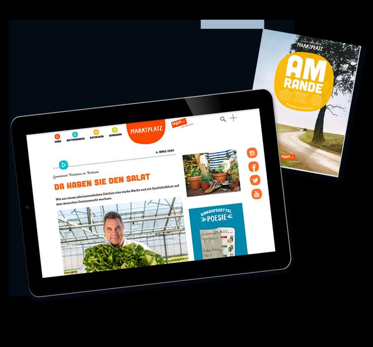 Tablet mit digitaler Kundenmagzin Plattform und Titel Kundenmagazin September/Oktober