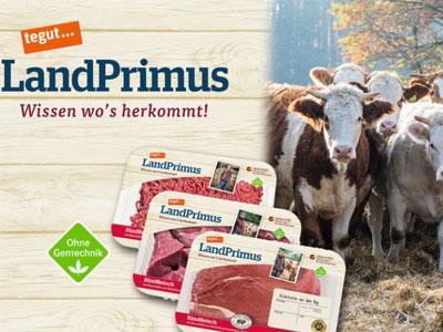 Land Primus Produkte mit Kühen im Hintergrund