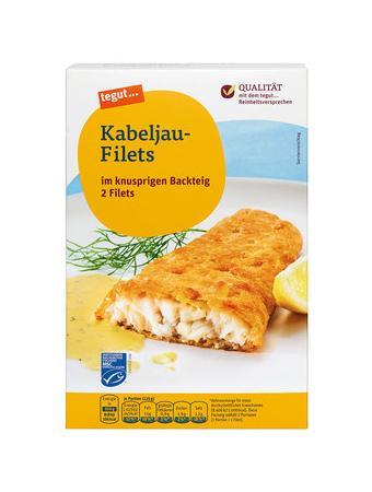 Darstellung von Kabeljau-Filets im knusprigen Backteig