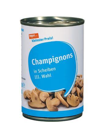 Darstellung von Champignons in Scheiben III. Wahl